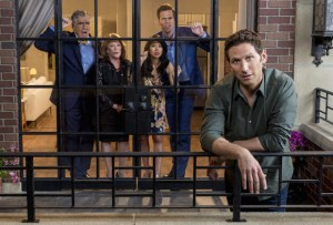 9JKL stars Mark Feuerstein (front) in a family comedy inspired by his real life. Josh Roberts (Feuerstein) is a new divorcé and actor between projects who moves home to New York to regroup, living in an apartment sandwiched between his doting, meddlesome parents (Elliott Gould, far left, and Linda Lavin, second from left) on one side and his competitive brother (David Walton), sister-in-law (Liza Lapira) and their new baby on the other. This fall, 9JKL will be broadcast Mondays (9:30-10:00 PM, ET/PT). After football ends, as of Oct. 30 9JKL will shift to (9:00-9:30 PM, ET/PT), on the CBS Television Network. Photo: Cliff Lipson/CBS ©2017 CBS Broadcasting, Inc. All Rights Reserved.