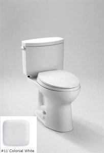TOTO CST454CEFG#11 Drake II Two-Piece Toilet 1.28 GPF with SanaGloss, Colonial White