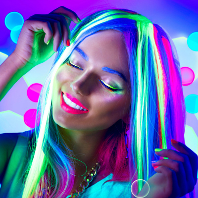 woman neon make up dancing neon light