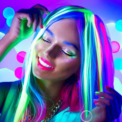 woman neon make up dancing neon light