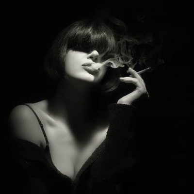 Woman Smoking Cannabis Blunt Black and White
