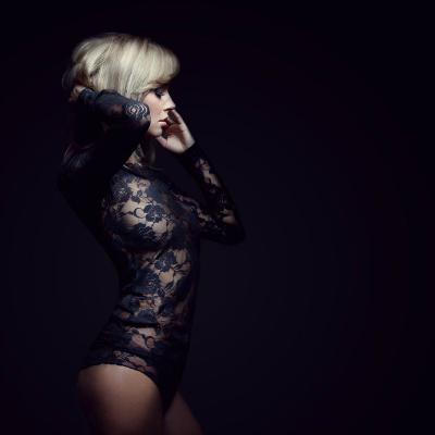 Blonde Black Dessous Elegant Sexy