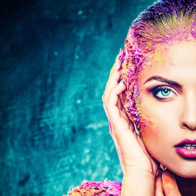 woman with conceptual colourful body art