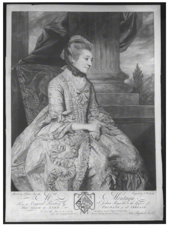 Elizabeth Montagu, mezzotint engraving, by John Raphael Smith, after a portrait by Sir Joshua Reynolds, published 10 April 1776. Public Domain via Wikimedia Commons.