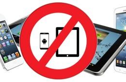 Verbodsbord tablets en smartphones