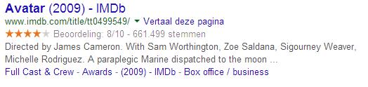 Rich snippet van IMDb