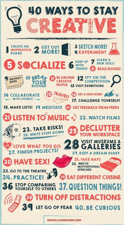 40 tips om creatief te blijven
