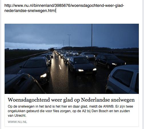 Voorbeeld nu.nl op Facebook