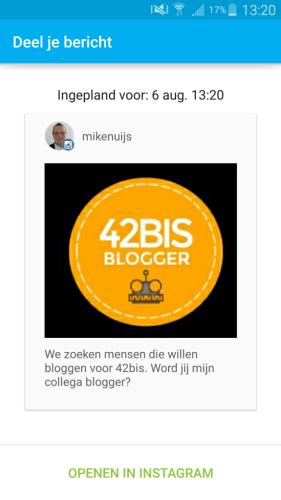 notificatiescherm Hootsuite voor instagram bericht