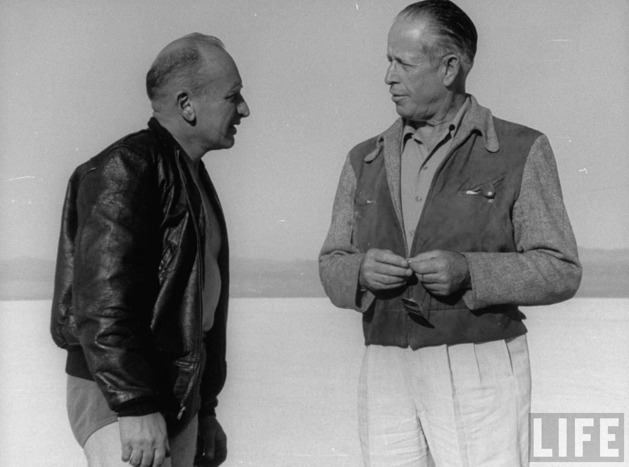 Roland Free chatting with photographer at Bonneville Salt Flat --September, 1948.