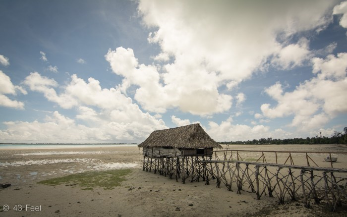traditional kiribati building over low tide in tarawa