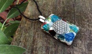 Garnet Pendant – Orgonite® – OCEAN Heart Chakra