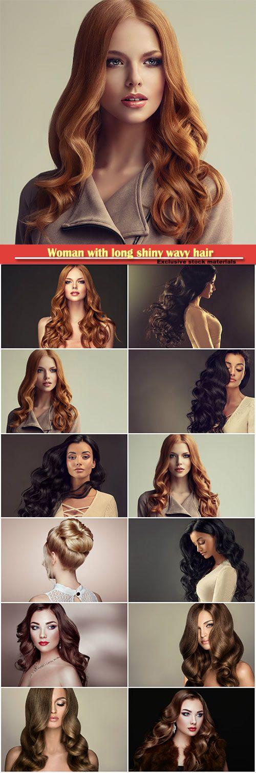 Woman With Long Shiny Wavy Hair