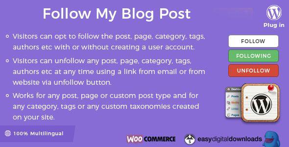 Follow My Blog Post WordPress Plugin v1.8.5