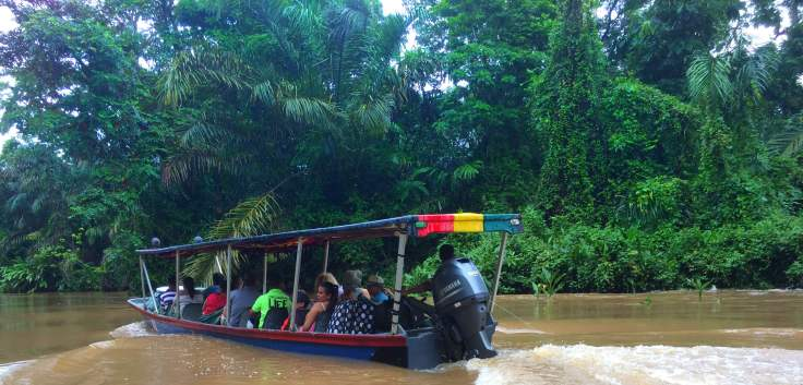 Boat ride on the canal in Tortuguero