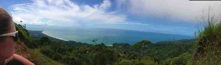 View of Uvita beach from a mountain top in Costa Rica