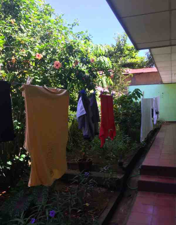 hand wash clothes then hang to dry