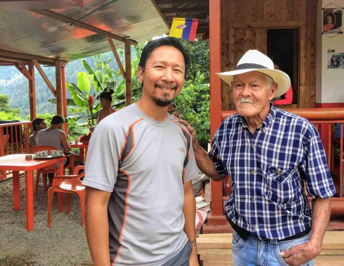 Trin with Don Elias at the coffee farm in Beautiful Colombia