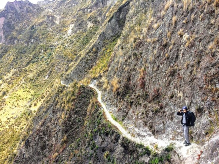 Part of the narrow trail on the inside of Quilotoa Crater