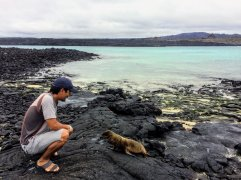 Trin with baby sea lion
