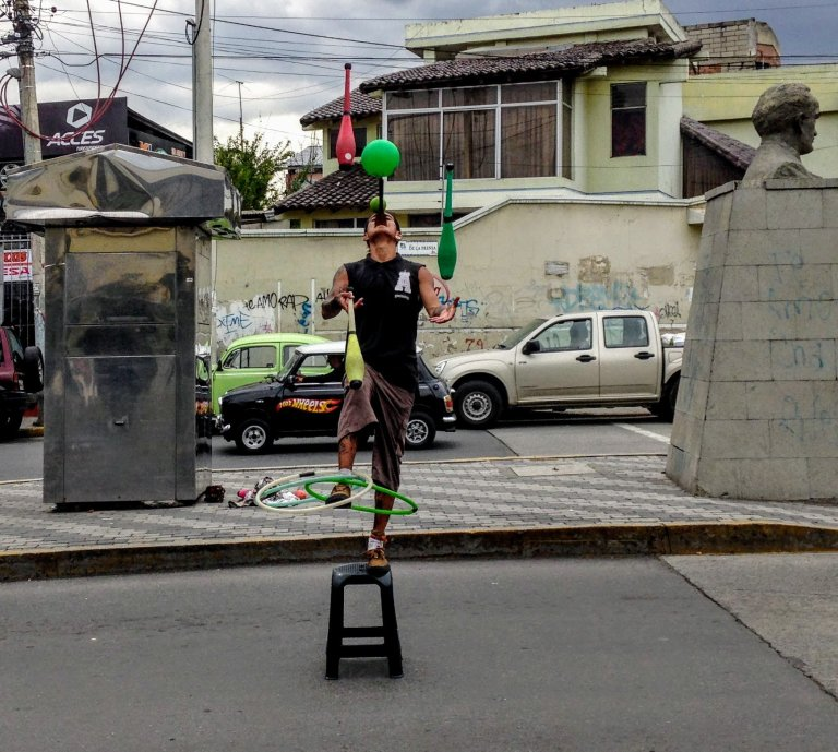 Street performer in Ecuador
