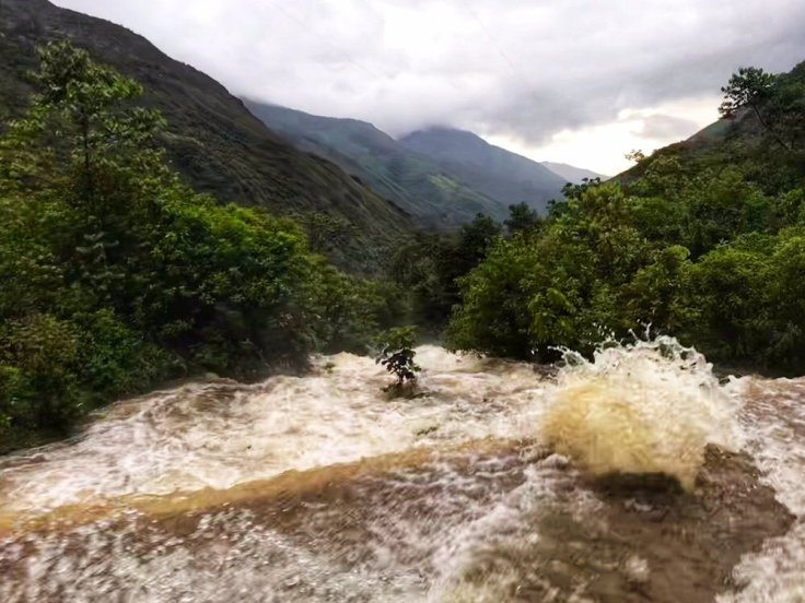 water over the road to the Machu Picchu Hike