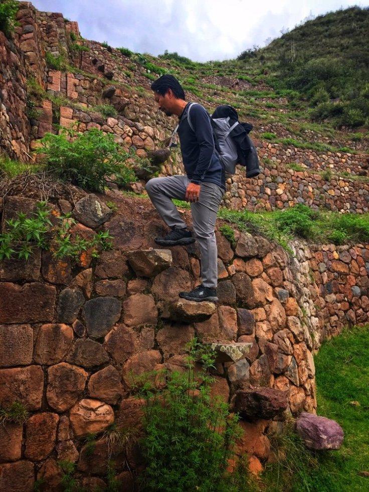 Inca ruins stairway in the terraces