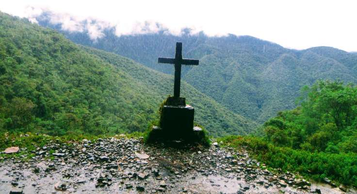 Cross on death road