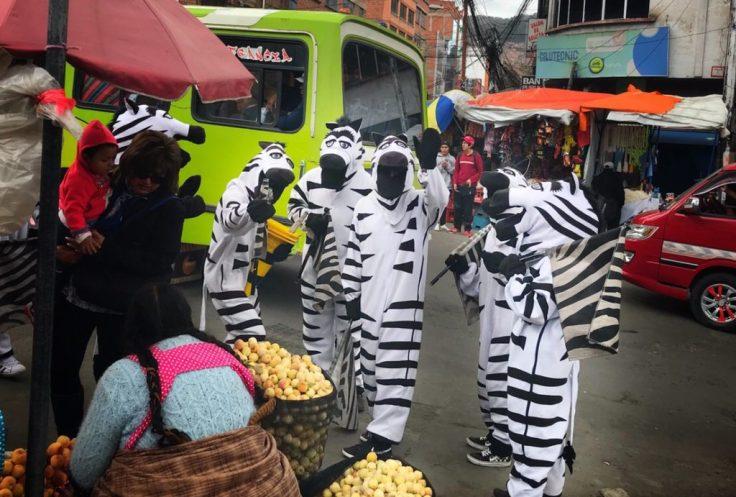 Zebras directing traffic