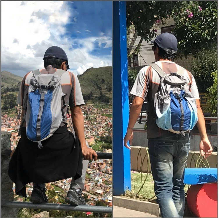 Backpack modified with boxers