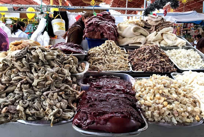 Meat in an open air market