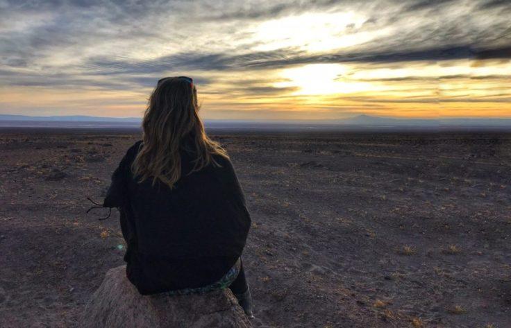 Sunset over the Salt Flat Valley in the Atacama