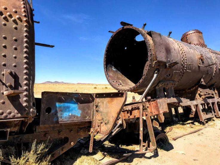 Train graveyard just before the Uyuni Salt Flats