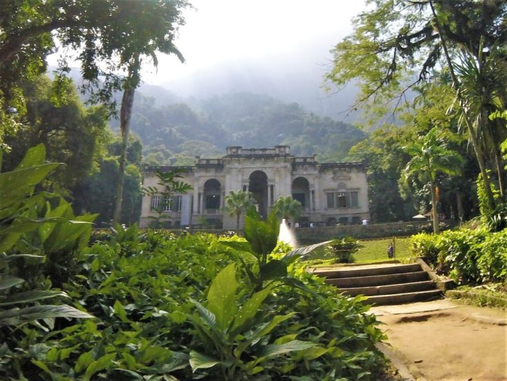 The park at the base of the Christ Statue Rio de Janerio a stop while Biking in Rio