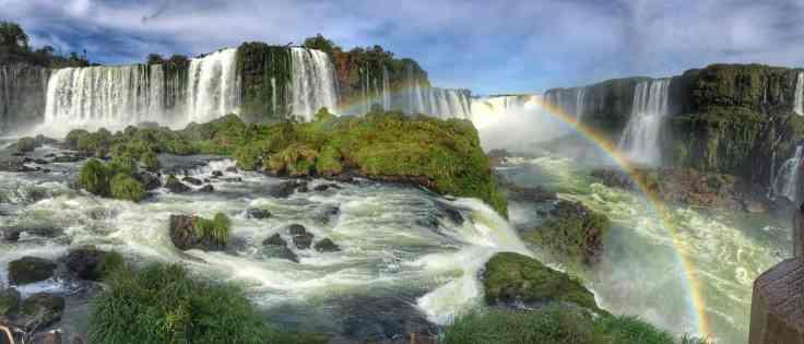 Rainbow from Brazil looking at Iguazu Falls Argentina