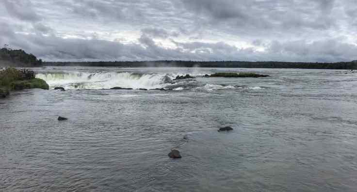 The river leading to Iguazu falls Argentina