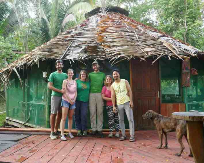 Patrick, Lindsay, Alia, Jeremy, Bonnie, and Trinity in front of Juma Pousada Lodge
