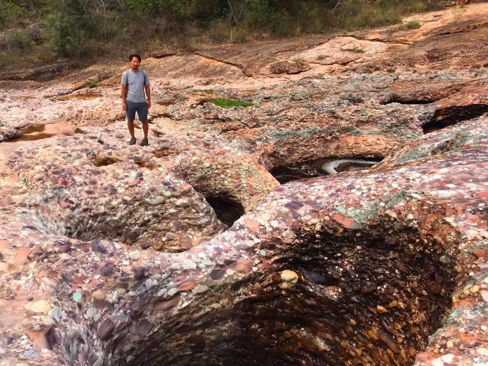 Holes in the river bed in Chapada Diamantina.