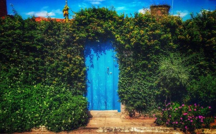 Blue door of home in Lencois
