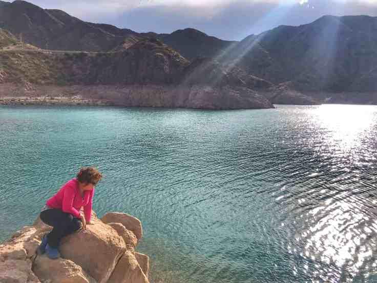 Nora at the lake near Mendoza