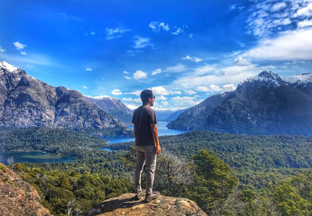 View of lakes above Bariloche Argentina