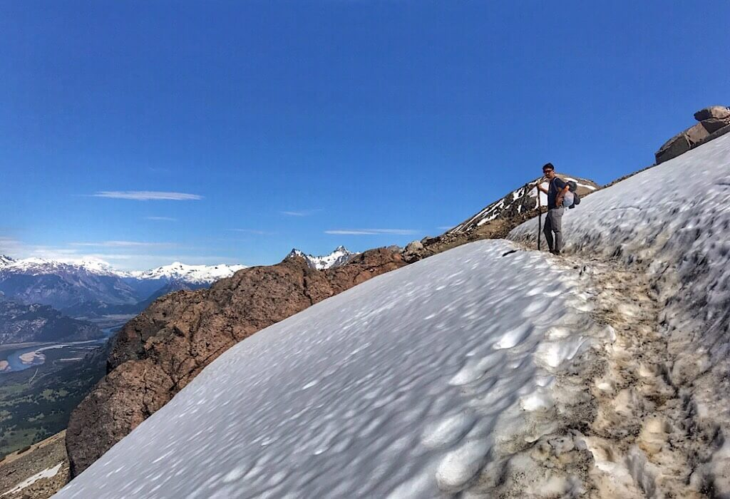 Snow crossing on the way to the Cerro Castillo Laguna