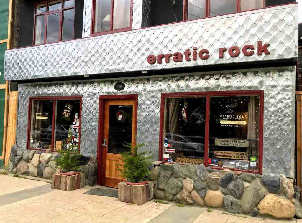 Erratic Rock storefront the best rental shop for Torres del Paine hikes