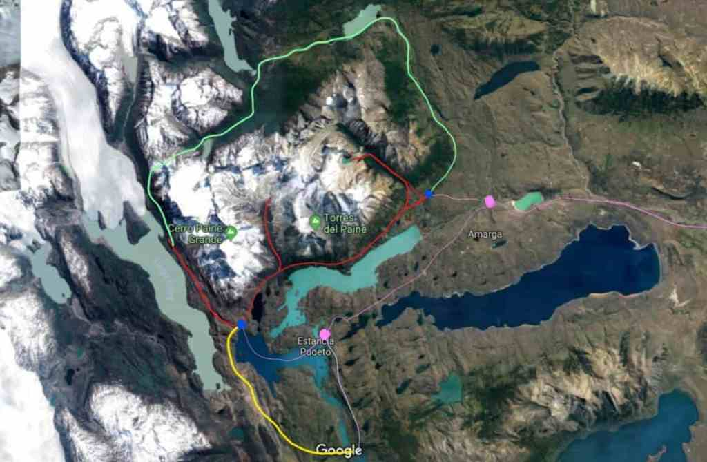 Google Satellite View of Torres del Paine hiking adapted by 43BlueDoors