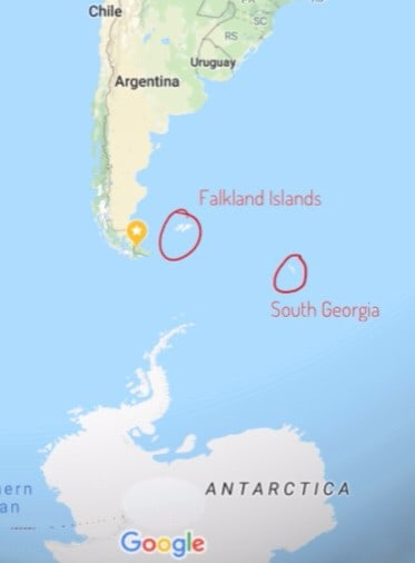Map of where the Falkland islands and South Georgia sit between the tip of South America and Antarctica