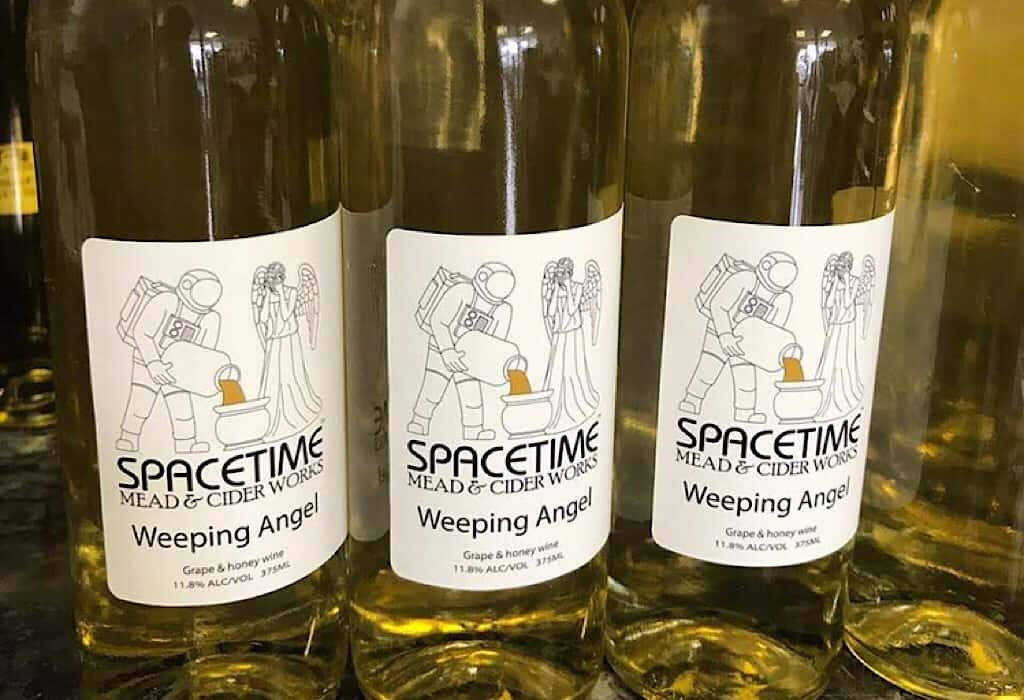 Spacetime Mead and Cider Works; Bottles of Weeping Angel mead, nectar of the gods