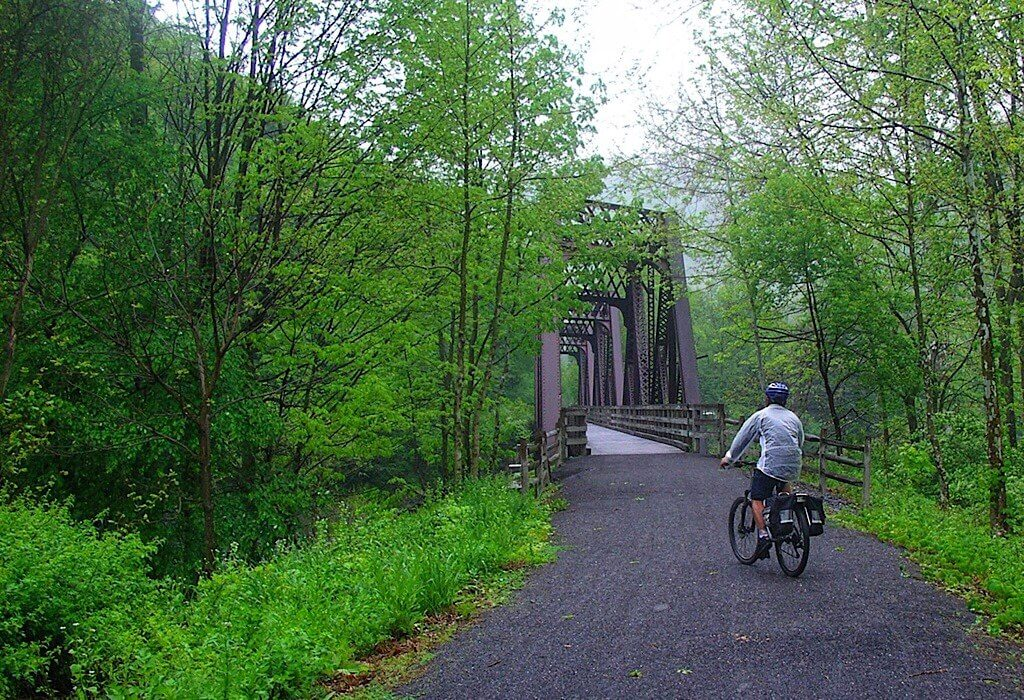 Trin on his bike on the Pine Creek Valley Rail Trail that runs from Wellsboro to Jersey Shore