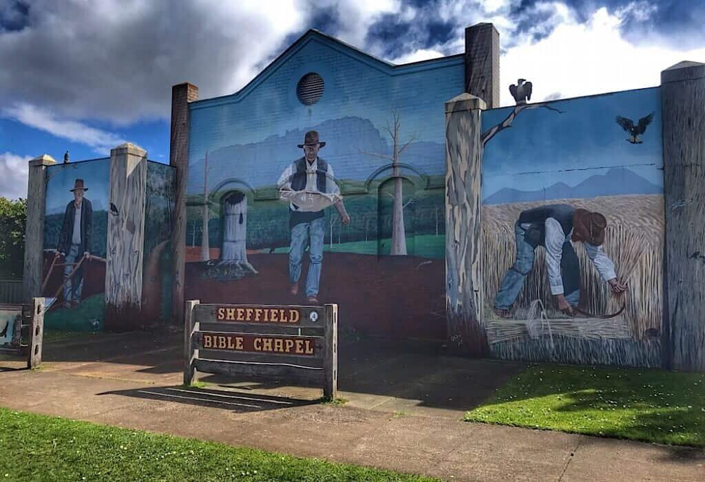Mural on a church in Sheffield Tasmania, Australia
