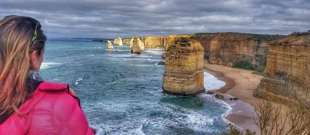 Bonnie looking at the 12 Apostles along the Great Ocean Road in Victoria, Australia