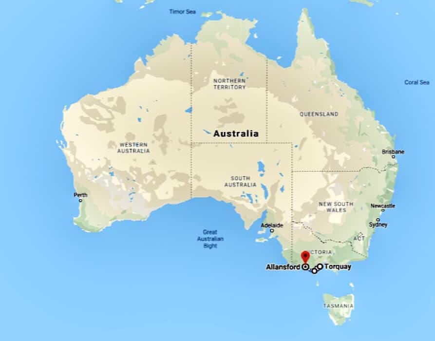 Map of Australia pointing out the location of the Great Ocean Road in Victoria Australia
